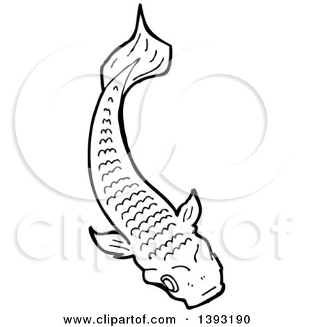 Cartoon of a red koi fish royalty free vector for Black white koi