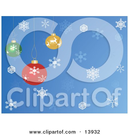 Red, Yellow and Green Christmas Baubles Hanging Over a Blue Snowflake Background Clipart Illustration by Rasmussen Images