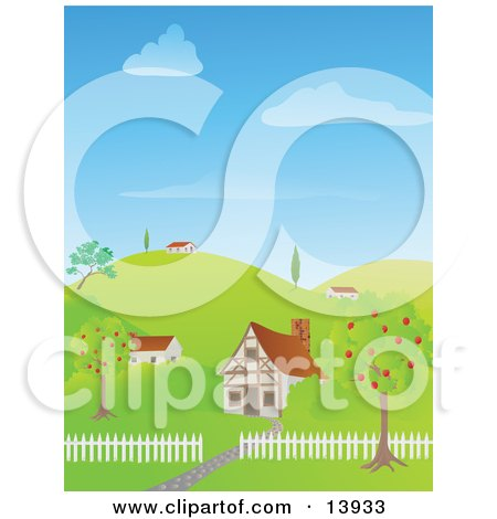 Cute Houses on a Hilly Landscape Posters, Art Prints
