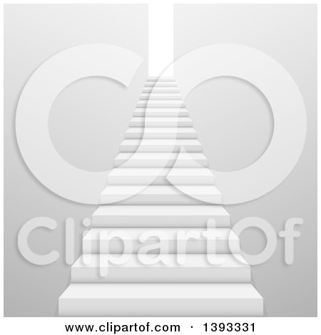 Clipart of a Grayscale 3d Stairway and Door - Royalty Free Vector Illustration by vectorace