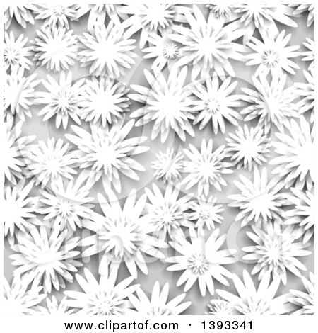 Clipart of a Seamless Grayscale Flower Background Pattern - Royalty Free Vector Illustration by vectorace