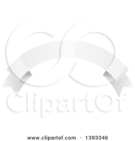 Clipart of a Blank White Flag Ribbon Banner - Royalty Free Vector Illustration by vectorace