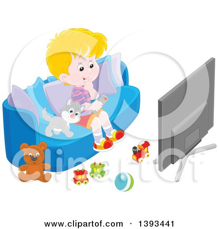 Clipart of a Cartoon Blond Caucasian Boy and Cat Sitting on a Couch and Watching Tv - Royalty Free Vector Illustration by Alex Bannykh