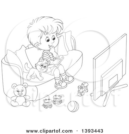 boy watching tv clipart. clipart of a cartoon black and white lineart boy cat sitting on couch watching tv - royalty free vector illustration by alex bannykh