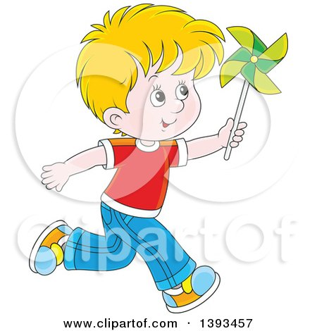 Clipart of a Cartoon Happy Blond White Boy Running and Playing with a Pinwheel - Royalty Free Vector Illustration by Alex Bannykh
