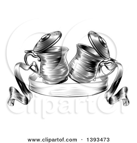 Clipart of Black and White Woodcut or Engraved Beer Steins or Tankards Chinking Together in a Toast over a Ribbon Banner - Royalty Free Vector Illustration by AtStockIllustration