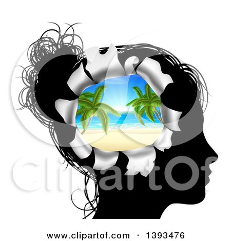 Clipart of a Black Silhouetted Woman's Head Thinking of Vacation with a Hole Showing a 3d Tropical Beach - Royalty Free Vector Illustration by AtStockIllustration