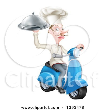 Clipart of a White Male Chef with a Curling Mustache, Holding a Platter on a Delivery Scooter - Royalty Free Vector Illustration by AtStockIllustration