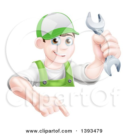 Clipart of a Happy Young Brunette Caucasian Mechanic Man in Green, Wearing a Baseball Cap, Holding a Wrench over a Sign - Royalty Free Vector Illustration by AtStockIllustration