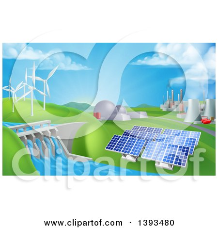 Clipart of a Landscape of 3d Renewable Energy Plants with a Dam, Solar Panels, Wind Turbines, Coal Plants and Nuclear Plants - Royalty Free Vector Illustration by AtStockIllustration