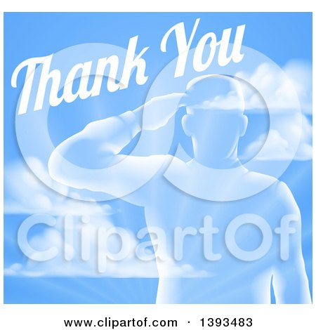 Clipart of a Transparent Silhouetted Saluting Soldier over a Blue Sky and Ray Background with Thank You Text - Royalty Free Vector Illustration by AtStockIllustration