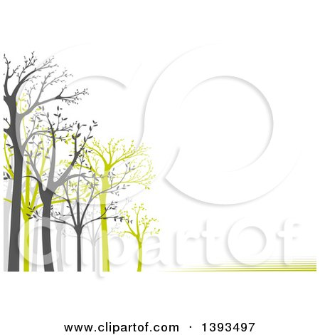 Clipart of a Background of Gray and Green Leafing Trees and Lines with Text Space on White - Royalty Free Vector Illustration by dero