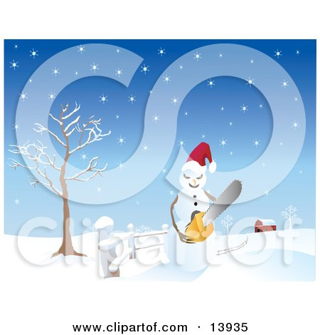 Mad Snowman Wearing a Santa Hat and Holding a Chainsaw, on a Snow Covered Landscape Near a Barn Posters, Art Prints
