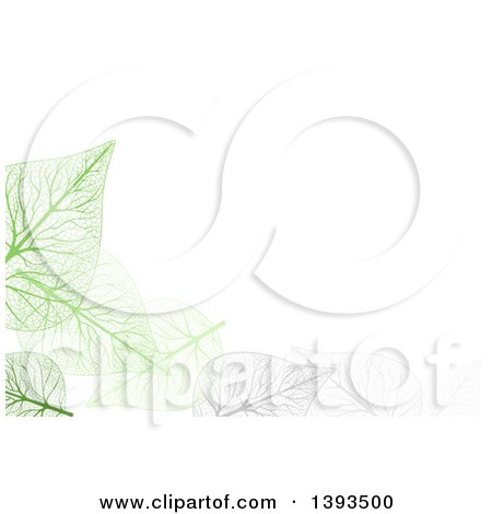 Clipart of a Background of Gray and Green Skeleton Leaves on White - Royalty Free Vector Illustration by dero