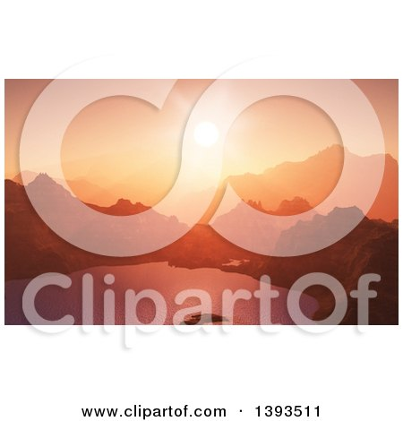Clipart of a 3d Mountainous Landscape with a Sunset over a Lake - Royalty Free Illustration by KJ Pargeter