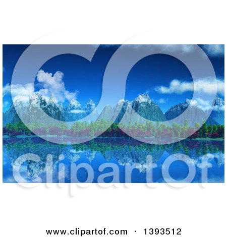 Clipart of a 3d Background of Snow Topped Mountains and Trees Reflecting in a Still Lake - Royalty Free Illustration by KJ Pargeter
