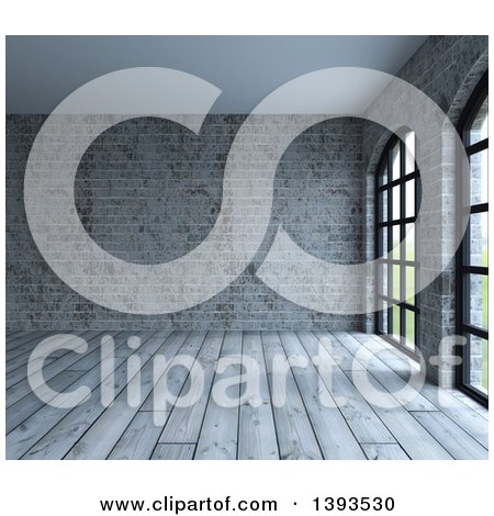 Clipart of a 3d Room Interior of Industrial Wood Floors and Brick Walls - Royalty Free Illustration by KJ Pargeter