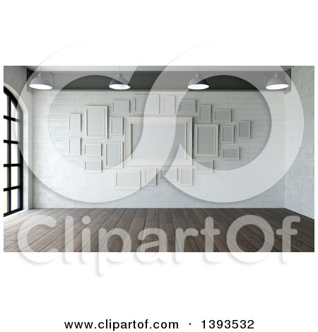 Clipart of a 3d Room Interior with Wood Floors and Blank Picture Frames on a White Stone Wall - Royalty Free Illustration by KJ Pargeter