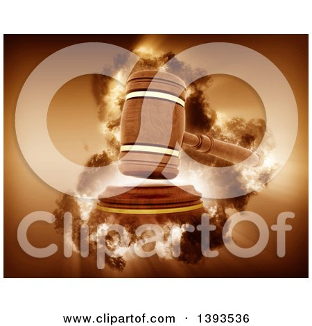 Clipart of a 3d Wooden Judge's Gavel Hitting the Block with a Storm Effect - Royalty Free Illustration by KJ Pargeter