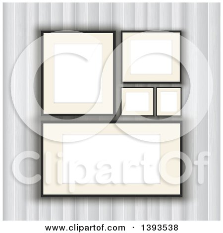Clipart of a Wall with Blank Picture Frames - Royalty Free Vector Illustration by KJ Pargeter