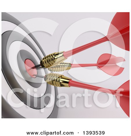 Clipart of a Closeup of a 3d Target with Three Darts in the Bulls Eye, on a Shaded Background - Royalty Free Illustration by KJ Pargeter