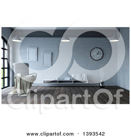 Clipart of a 3d Throw Draped over a White Leather Chair in a Room Interior - Royalty Free Illustration by KJ Pargeter