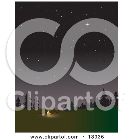 Two Campers Keeping Warm by a Campfire Under the Stars Posters, Art Prints