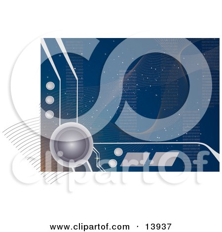 Cyberspace Computer Web Background With Elements, Stars and Binary Code Clipart Illustration by Rasmussen Images