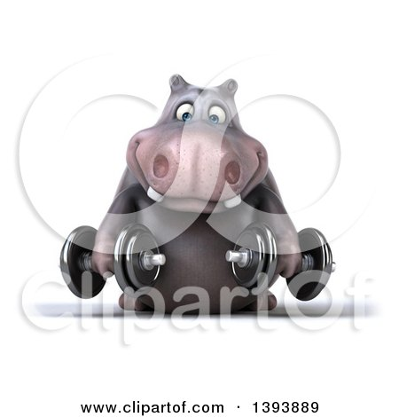 Clipart of a 3d Henry Hippo Character Working out with Dumbbells, on a White Background - Royalty Free Illustration by Julos