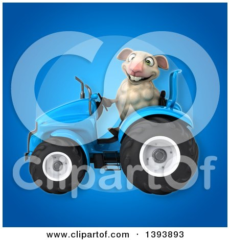 Clipart of a 3d Sheep Operating a Tractor, on a Blue Background - Royalty Free Illustration by Julos