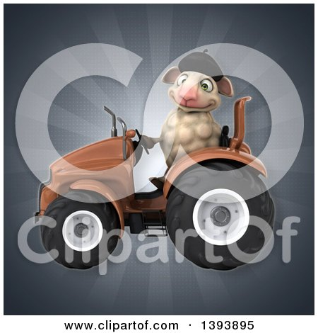 Clipart of a 3d French Sheep Operating a Tractor, on a Gray Background - Royalty Free Illustration by Julos