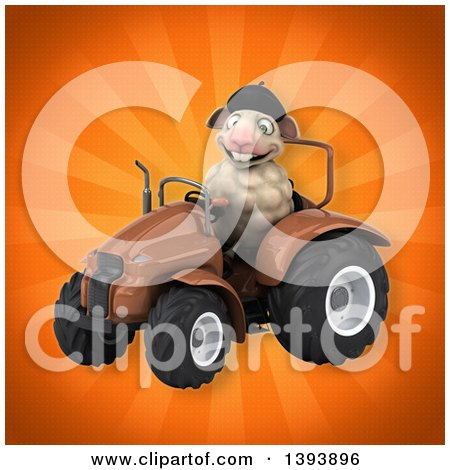 Clipart of a 3d French Sheep Operating a Tractor, on an Orange Background - Royalty Free Illustration by Julos