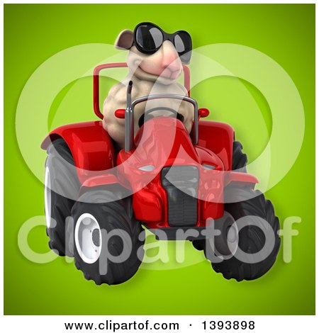 Clipart of a 3d Sheep Operating a Tractor, on a Green Background - Royalty Free Illustration by Julos