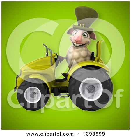 Clipart of a 3d Irish Sheep Operating a Tractor, on a Green Background - Royalty Free Illustration by Julos