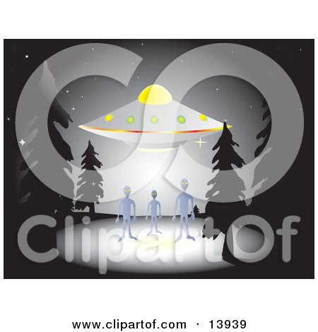 Three Aliens Standing Near A Hovering UFO In A Forest At Night Clipart Illustration