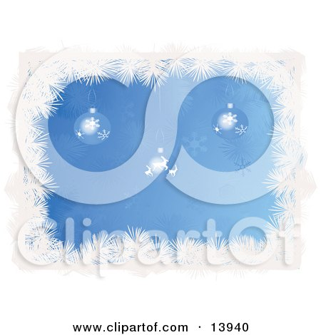 Snowflake and Reindeer Patterned Christmas Baubles Hanging Over a Blue Snowflake Background Bordered by White Tinsel Clipart Illustration by Rasmussen Images