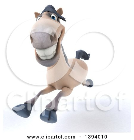 Clipart of a 3d Beige Horse Running, on a White Background - Royalty Free Illustration by Julos