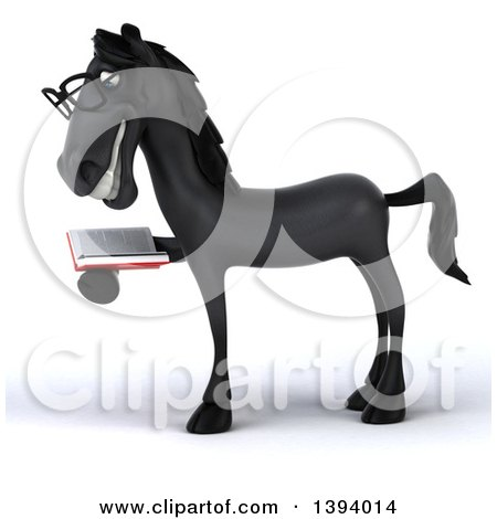 Clipart of a 3d Black Horse Reading a Book, on a White Background - Royalty Free Illustration by Julos