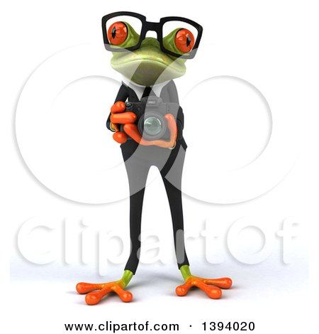 Clipart of a 3d Green Business Springer Frog Taking Pictures, on a White Background - Royalty Free Illustration by Julos