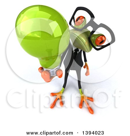 Clipart of a 3d Green Business Springer Frog Holding a Light Bulb, on a White Background - Royalty Free Illustration by Julos