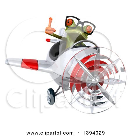 Clipart of a 3d Green Springer Frog Flying a Plane, on a White Background - Royalty Free Illustration by Julos