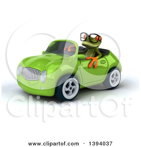Clipart of a 3d Green Springer Frog Driving a Convertible Car, on a White Background - Royalty Free Illustration by Julos