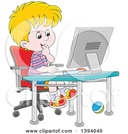 Clipart of a Cartoon Blond Caucasian Boy Using a Desktop Computer - Royalty Free Vector Illustration by Alex Bannykh