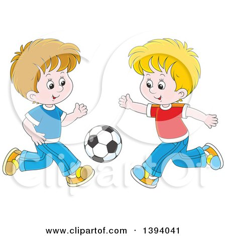 Clipart of Cartoon White Boys Playing Soccer - Royalty Free Vector Illustration by Alex Bannykh