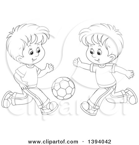 Clipart of Cartoon Black and White Lineart Boys Playing Soccer - Royalty Free Vector Illustration by Alex Bannykh