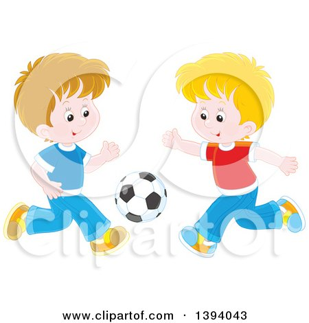 Clipart of Cartoon Caucasian Boys Playing Soccer - Royalty Free Vector Illustration by Alex Bannykh
