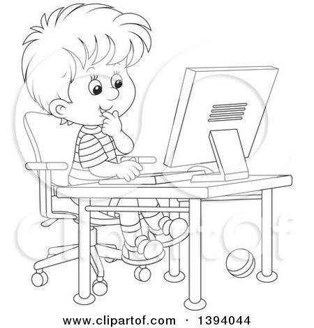 Clipart of a Cartoon Black and White Lineart Boy Using a ...
