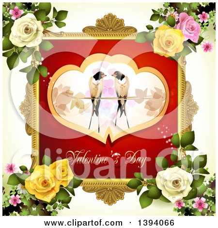 Clipart of a Pair of Love Birds in Hearts over Valentines Day Text in a Frame, on off White with Roses - Royalty Free Vector Illustration by merlinul