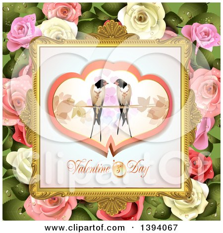 Clipart of a Pair of Love Birds in Hearts over Valentines Day Text in a Frame, on Pink and White Roses and Leaves - Royalty Free Vector Illustration by merlinul