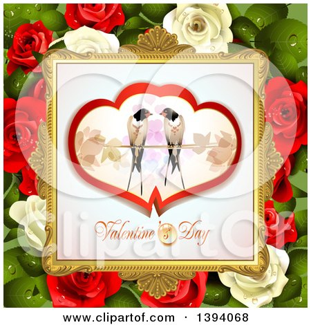 Clipart of a Pair of Love Birds in Hearts over Valentines Day Text in a Frame, on Red and White Roses and Leaves - Royalty Free Vector Illustration by merlinul